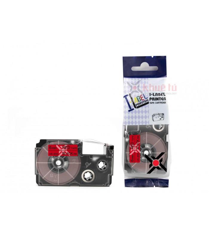 Băng nhãn in HR-6RD (Black on Red, 6mm) | Khổ 6mm tương thích nhãn Casio XR | khuetu.vn