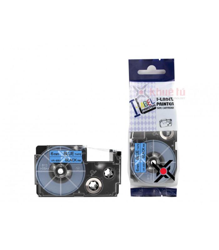 Băng nhãn in HR-6BU (Black on Blue, 6mm) | Khổ 6mm tương thích nhãn Casio XR | khuetu.vn
