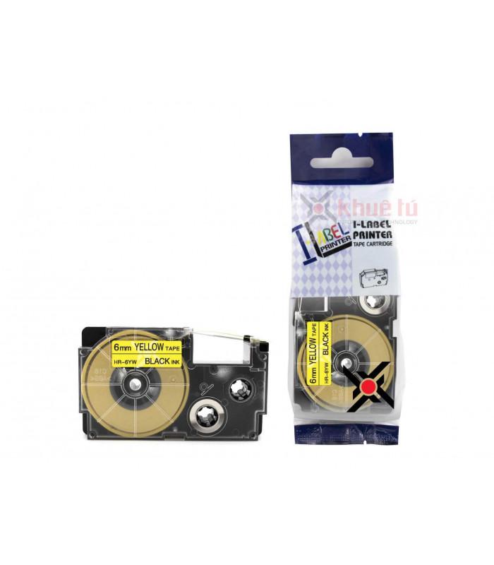 Băng nhãn in HR-6YW (Black on Yellow, 6mm) | Khổ 6mm tương thích nhãn Casio XR | khuetu.vn