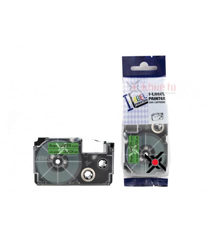 Băng nhãn in HR-6GN (Black on Green, 6mm) | Khổ 6mm tương thích nhãn Casio XR | khuetu.vn