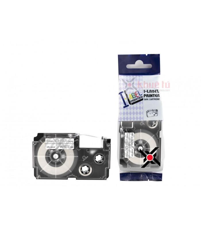 Băng nhãn in HR-6AX (White on Clear, 6mm) | Khổ 6mm tương thích nhãn Casio XR | khuetu.vn