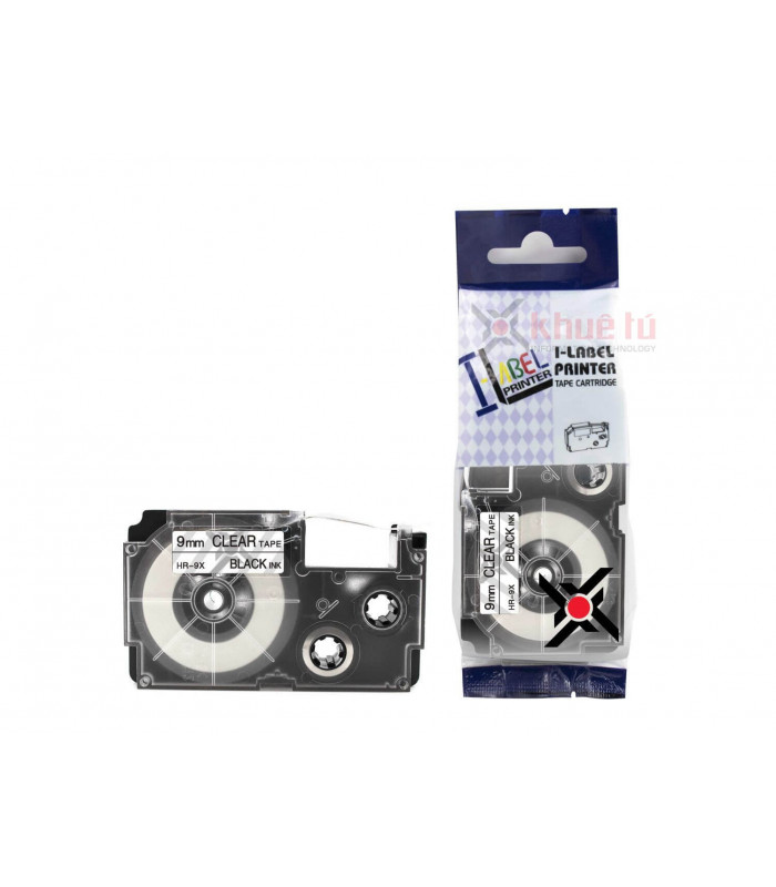 Băng nhãn in HR-9X (Black on Clear, 9mm) | Khổ 9mm tương thích nhãn Casio XR | khuetu.vn