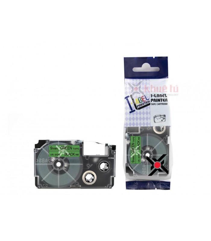 Băng nhãn in HR-9GN (Black on Green, 9mm) | Khổ 9mm tương thích nhãn Casio XR | khuetu.vn