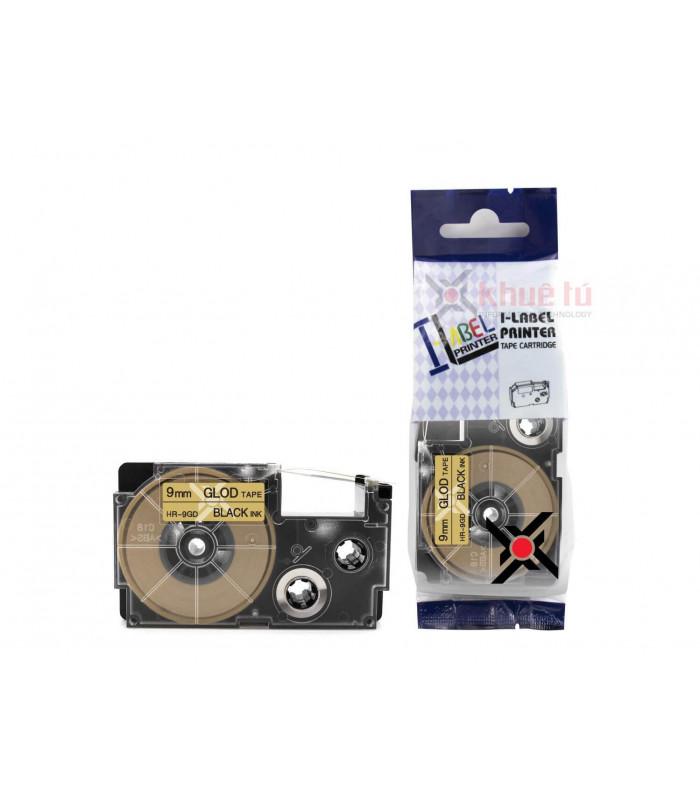 Băng nhãn in HR-9GD (Black on Gold, 9mm) | Khổ 9mm tương thích nhãn Casio XR | khuetu.vn