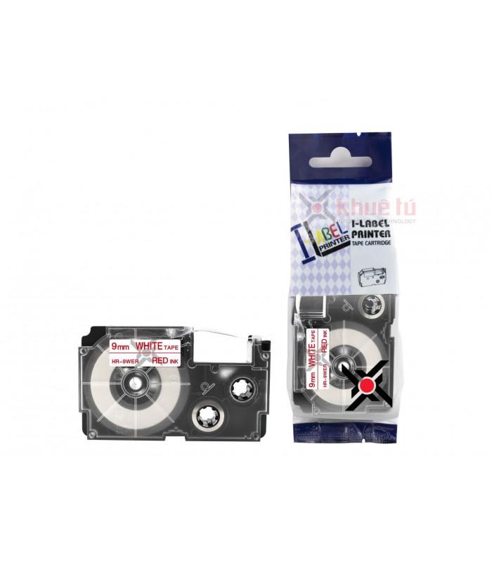Băng nhãn in HR-9WER (Red on White, 9mm) | Khổ 9mm tương thích nhãn Casio XR | khuetu.vn