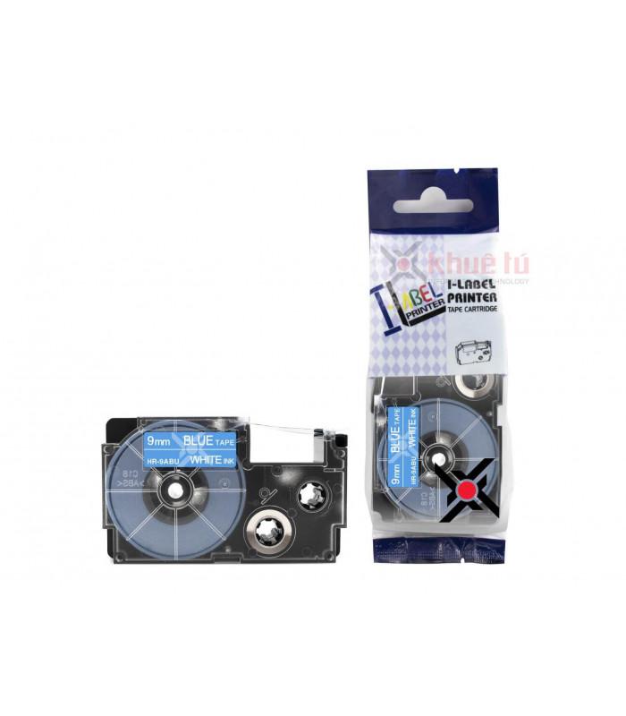 Băng nhãn in HR-9ABU (White on Blue, 9mm) | Khổ 9mm tương thích nhãn Casio XR | khuetu.vn