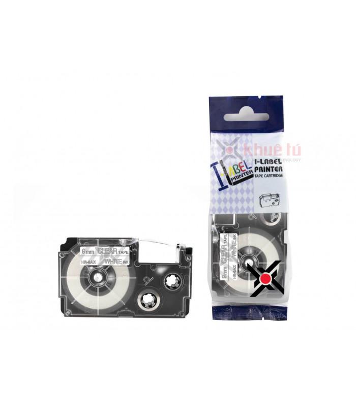 Băng nhãn in HR-9AX (White on Clear, 9mm) | Khổ 9mm tương thích nhãn Casio XR | khuetu.vn