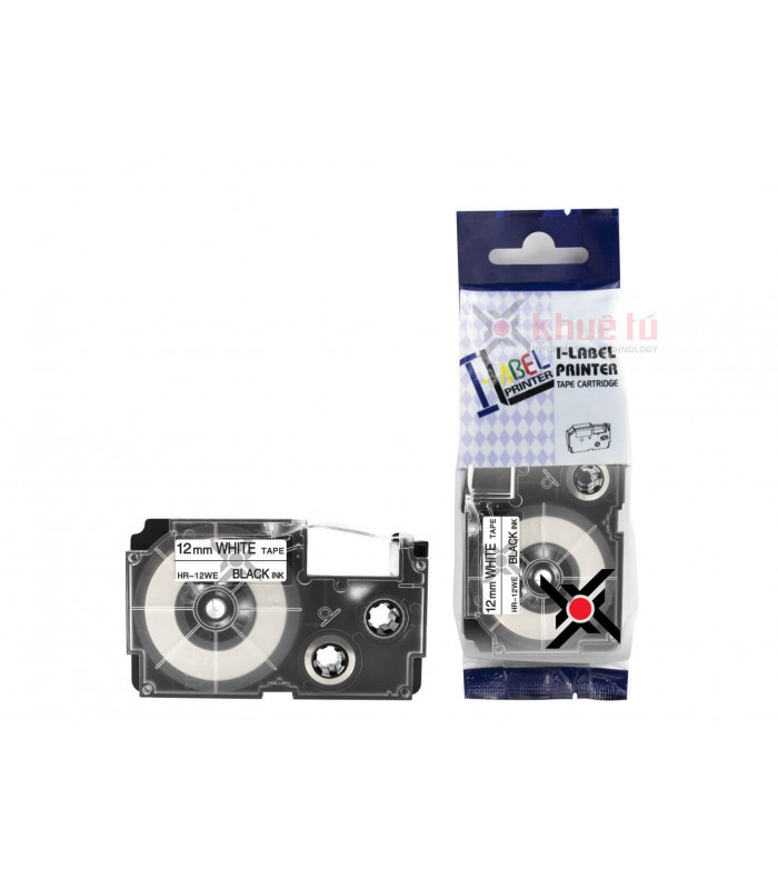 Băng nhãn in HR-12WE (Black on White, 12mm) | Khổ 12mm tương thích nhãn Casio XR | khuetu.vn