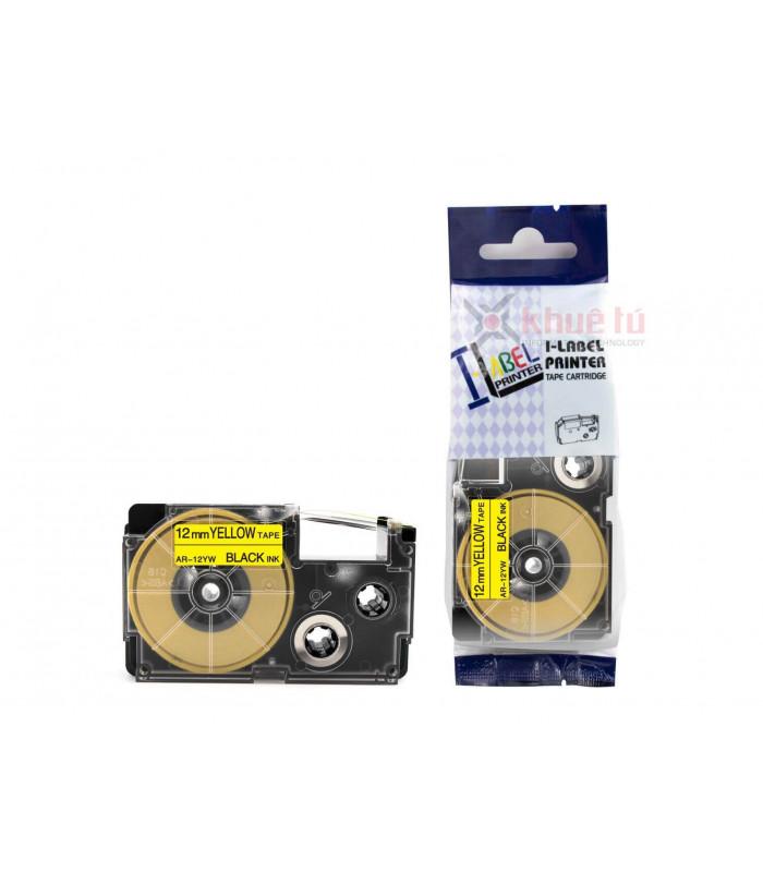 Băng nhãn in HR-12YW (Black on Yellow, 12mm) | Khổ 12mm tương thích nhãn Casio XR | khuetu.vn