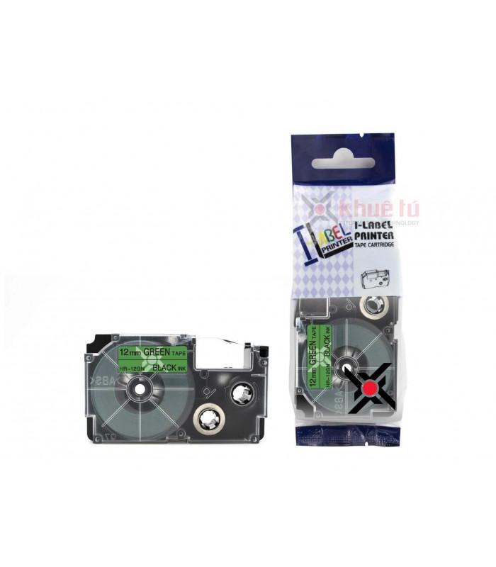 Băng nhãn in HR-12GN (Black on Green, 12mm) | Khổ 12mm tương thích nhãn Casio XR | khuetu.vn
