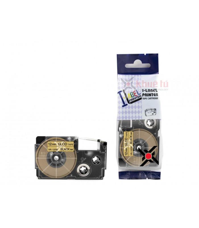 Băng nhãn in HR-12GD (Black on Gold, 12mm) | Khổ 12mm tương thích nhãn Casio XR | khuetu.vn