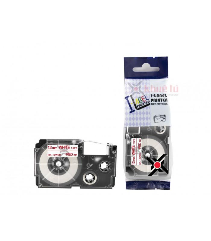 Băng nhãn in HR-12WER (Red on White, 12mm) | Khổ 12mm tương thích nhãn Casio XR | khuetu.vn