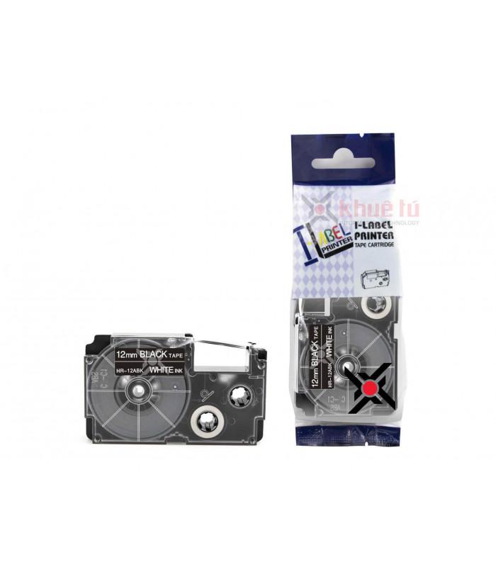 Băng nhãn in HR-12ABK (White on Black, 12mm) | Khổ 12mm tương thích nhãn Casio XR | khuetu.vn