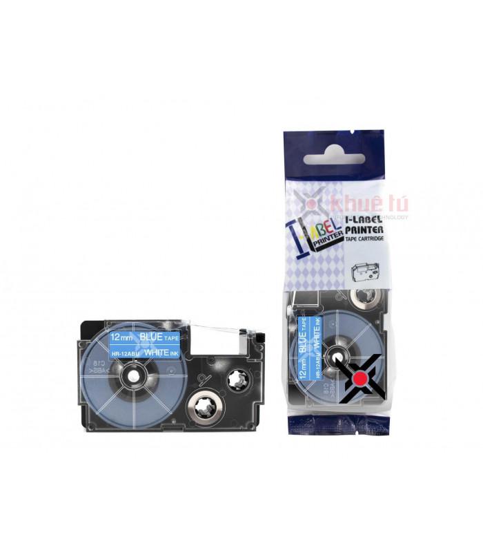 Băng nhãn in HR-12ABU (White on Blue, 12mm) | Khổ 12mm tương thích nhãn Casio XR | khuetu.vn