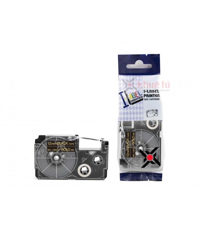 Băng nhãn in HR-12BKG (Gold on Black, 12mm) | Khổ 12mm tương thích nhãn Casio XR | khuetu.vn