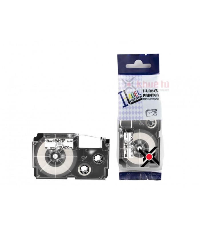 Băng nhãn in HR-18WE (Black on White, 18mm) | Khổ 18mm tương thích nhãn Casio XR | khuetu.vn