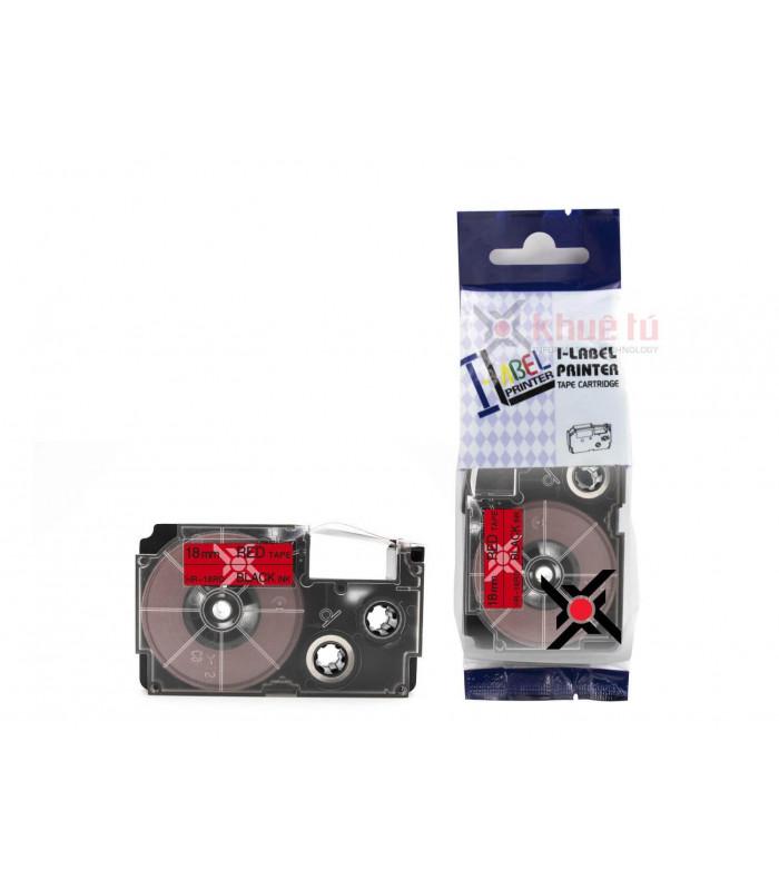 Băng nhãn in HR-18RD (Black on Red, 18mm) | Khổ 18mm tương thích nhãn Casio XR | khuetu.vn