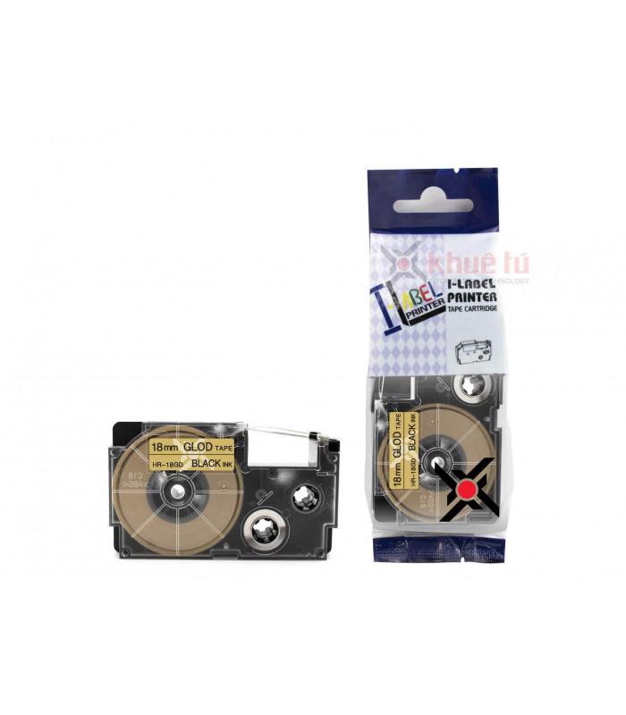 Băng nhãn in HR-18GD (Black on Gold, 18mm) | Khổ 18mm tương thích nhãn Casio XR | khuetu.vn