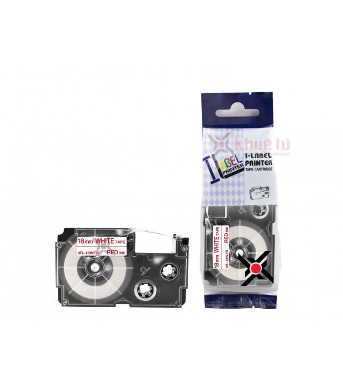 Băng nhãn in HR-18WER (Red on White, 18mm) | Khổ 18mm tương thích nhãn Casio XR | khuetu.vn