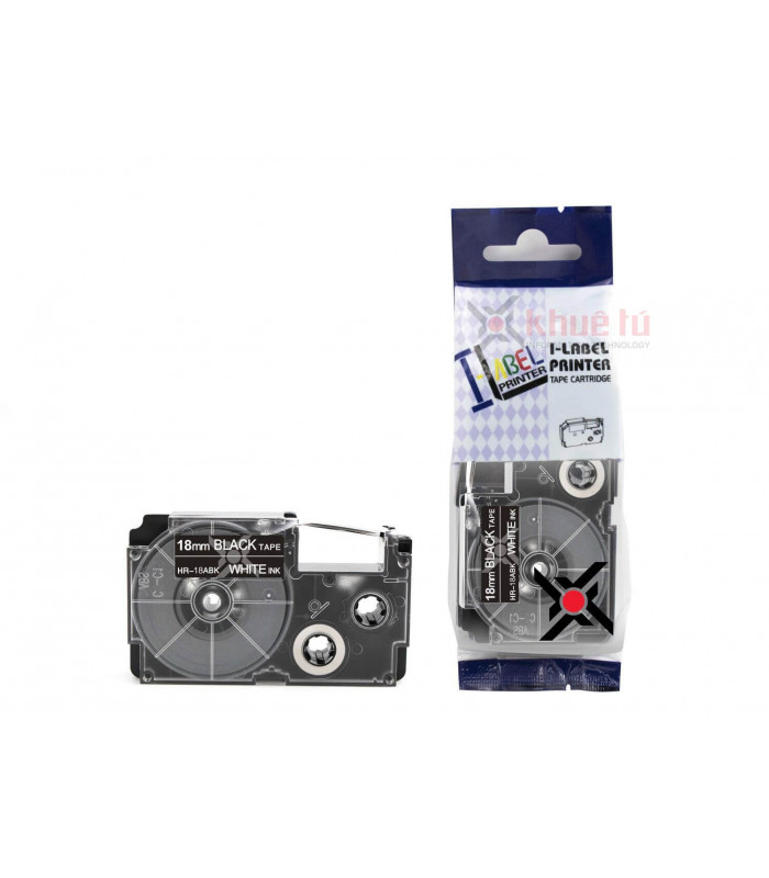 Băng nhãn in HR-18ABK (White on Black, 18mm) | Khổ 18mm tương thích nhãn Casio XR | khuetu.vn