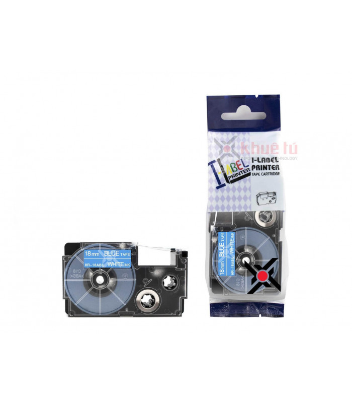 Băng nhãn in HR-18ABU (White on Blue, 18mm) | Khổ 18mm tương thích nhãn Casio XR | khuetu.vn