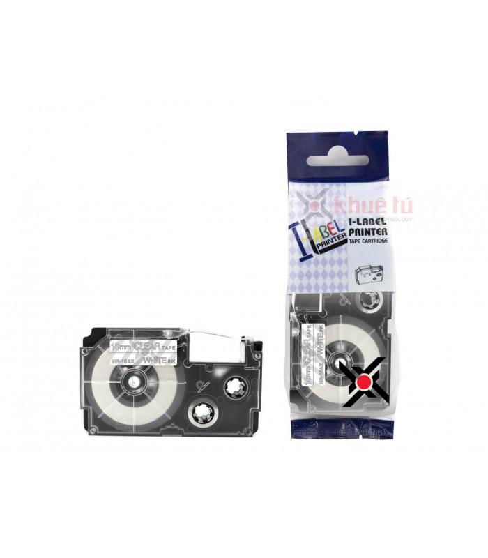 Băng nhãn in HR-18AX (White on Clear, 18mm) | Khổ 18mm tương thích nhãn Casio XR | khuetu.vn