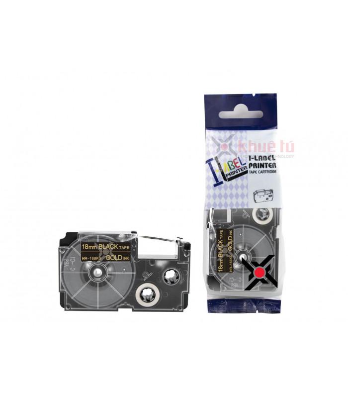 Băng nhãn in HR-18BKG (Gold on Black, 18mm) | Khổ 18mm tương thích nhãn Casio XR | khuetu.vn