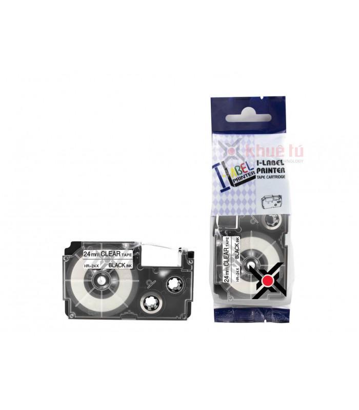 Băng nhãn in HR-24X (Black on Clear, 24mm) | Khổ 24mm tương thích nhãn Casio XR | khuetu.vn