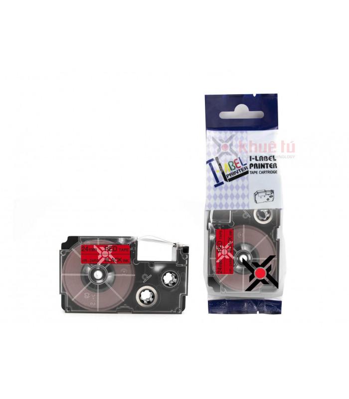Băng nhãn in HR-24RD (Black on Red, 24mm) | Khổ 24mm tương thích nhãn Casio XR | khuetu.vn