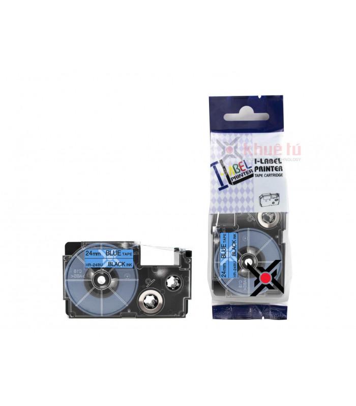 Băng nhãn in HR-24BU (Black on Blue, 24mm) | Khổ 24mm tương thích nhãn Casio XR | khuetu.vn