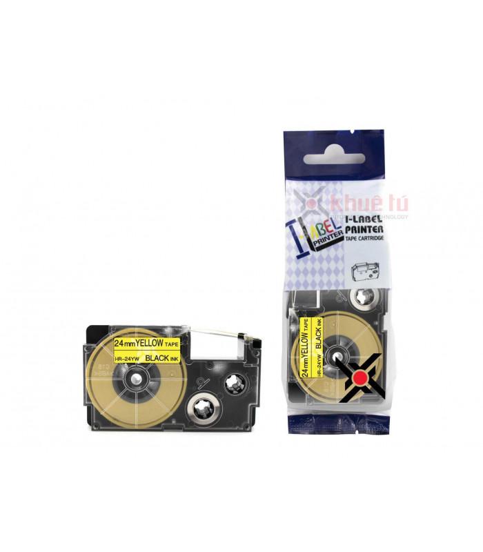 Băng nhãn in HR-24YW (Black on Yellow, 24mm) | Khổ 24mm tương thích nhãn Casio XR | khuetu.vn