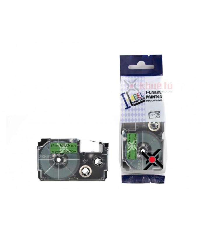 Băng nhãn in HR-24GN (Black on Green, 24mm) | Khổ 24mm tương thích nhãn Casio XR | khuetu.vn