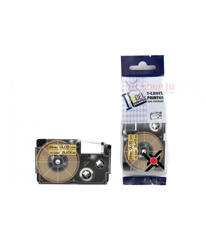 Băng nhãn in HR-24GD (Black on Gold, 24mm) | Khổ 24mm tương thích nhãn Casio XR | khuetu.vn