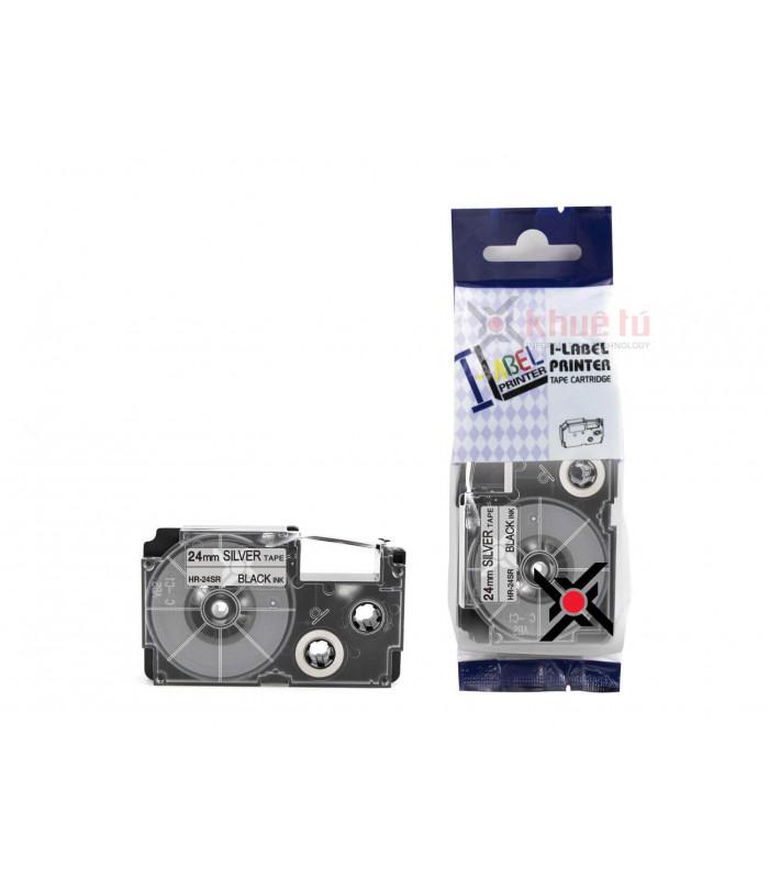 Băng nhãn in HR-24SR (Black on Silver, 24mm) | Khổ 24mm tương thích nhãn Casio XR | khuetu.vn
