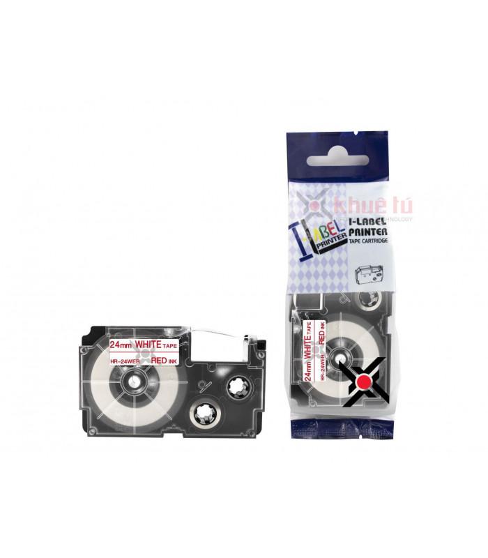 Băng nhãn in HR-24WER (Red on White, 24mm) | Khổ 24mm tương thích nhãn Casio XR | khuetu.vn