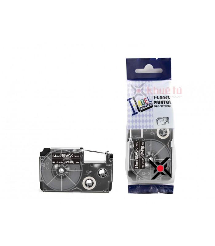 Băng nhãn in HR-24ABK (White on Black, 24mm) | Khổ 24mm tương thích nhãn Casio XR | khuetu.vn