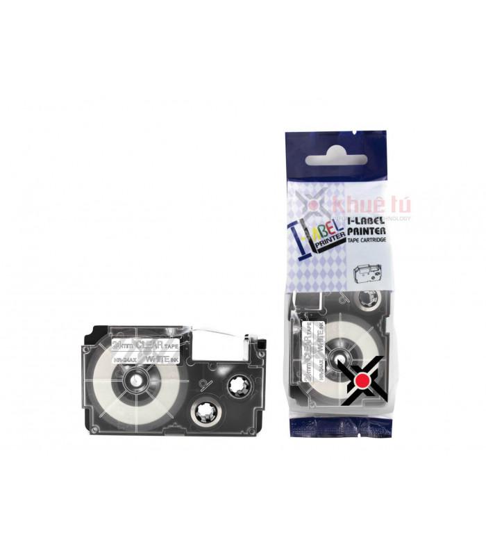 Băng nhãn in HR-24AX (White on Clear, 24mm) | Khổ 24mm tương thích nhãn Casio XR | khuetu.vn