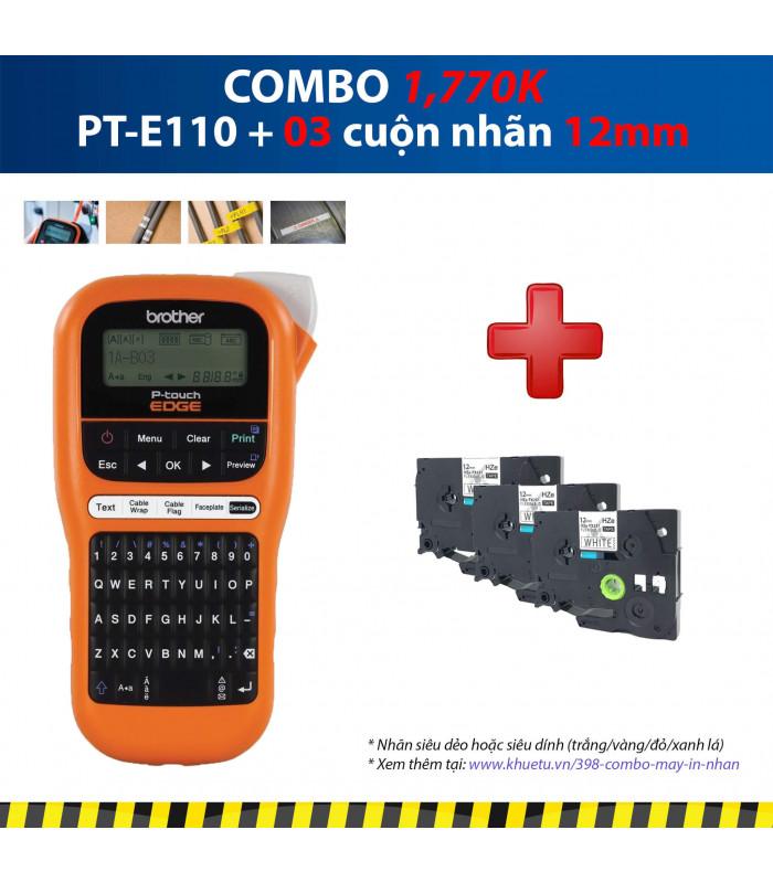 Combo: PT-E110 + 3 Cuộn nhãn 12mm | Máy in nhãn Brother | khuetu.vn