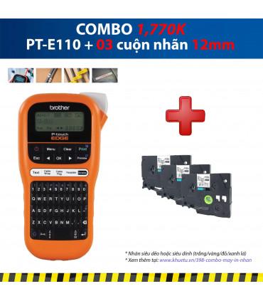 Combo: PT-E110 + 3 Cuộn nhãn 12mm