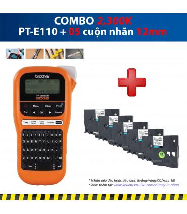 Combo: PT-E110 + 5 Cuộn nhãn 12mm