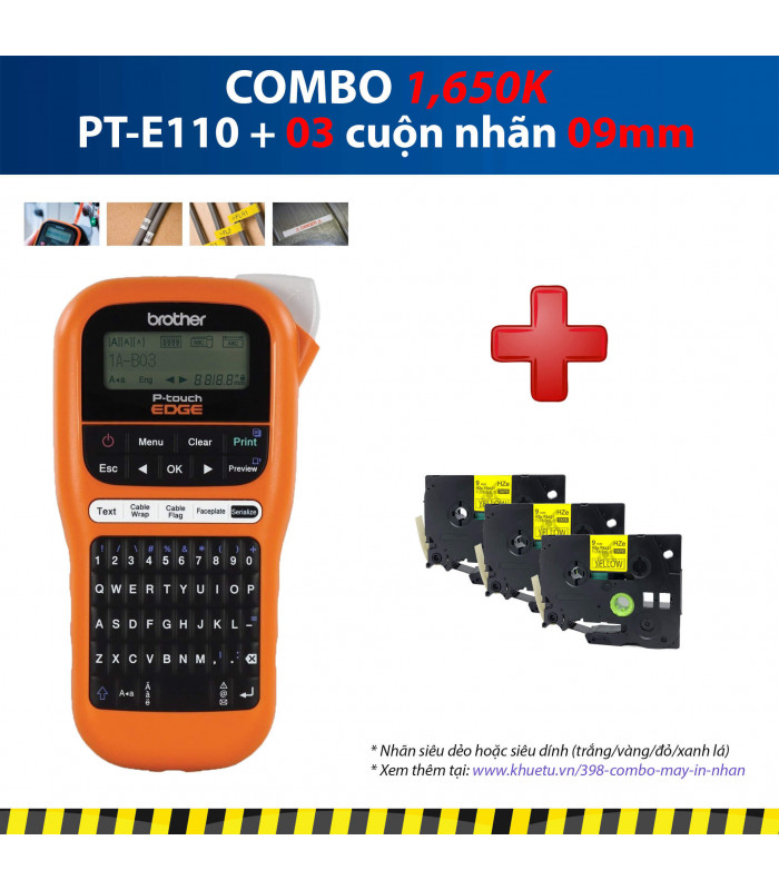 Combo: PT-E110 + 3 Cuộn nhãn 09mm | Máy in nhãn Brother | khuetu.vn