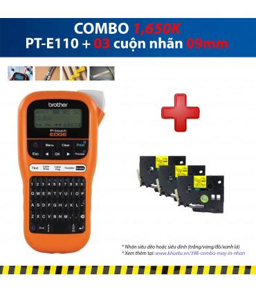 Combo: PT-E110 + 3 Cuộn nhãn 09mm