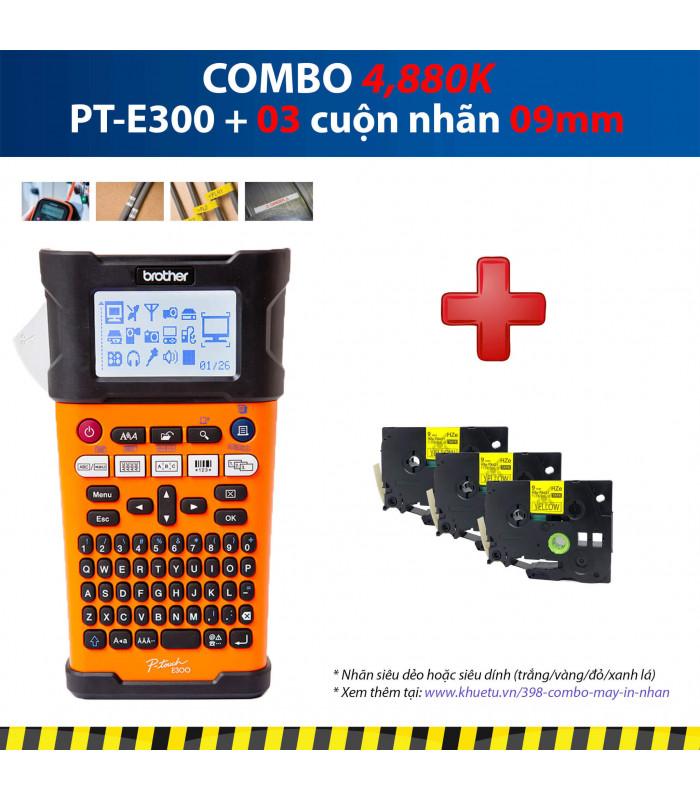 Combo: PT-E300 + 3 Cuộn nhãn 09mm   Máy in nhãn Brother   khuetu.vn