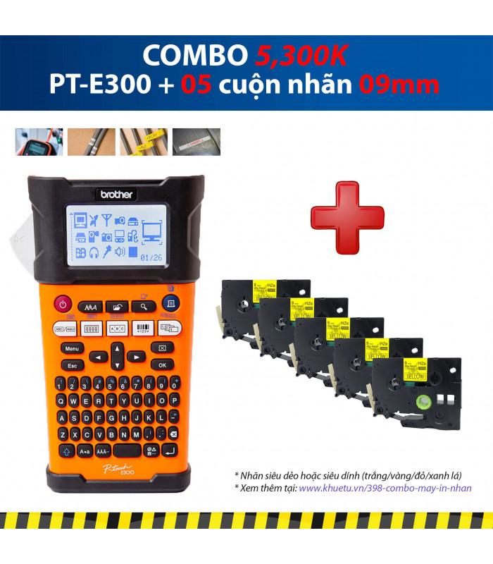 Combo: PT-E300 + 5 Cuộn nhãn 09mm | Máy in nhãn Brother | khuetu.vn