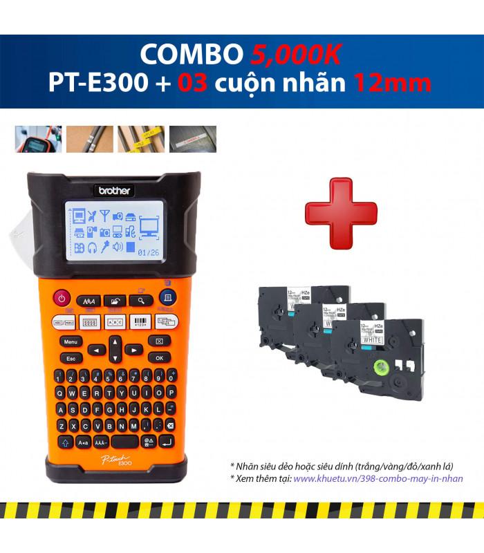 Combo: PT-E300 + 3 Cuộn nhãn 12mm   Máy in nhãn Brother   khuetu.vn