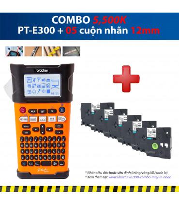 Combo: PT-E300 + 5 Cuộn nhãn 12mm