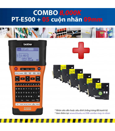 Combo: PT-E500 + 5 Cuộn nhãn 09mm