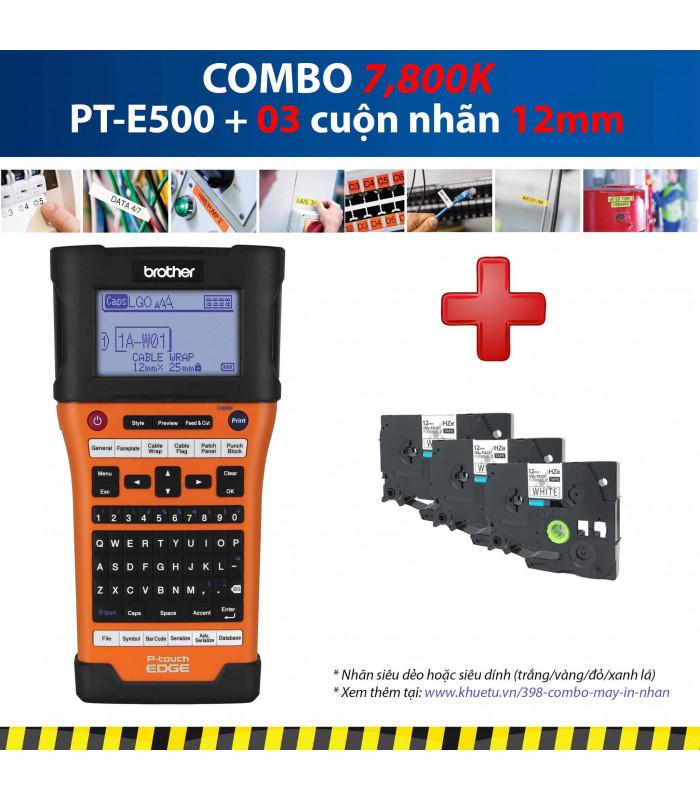 Combo: PT-E500 + 3 Cuộn nhãn 12mm | Máy in nhãn Brother | khuetu.vn