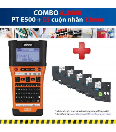 Combo: PT-E500 + 5 Cuộn nhãn 12mm