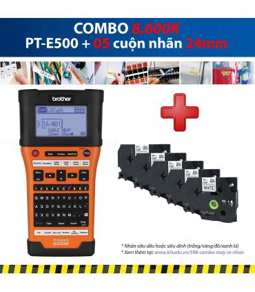 Combo: PT-E500 + 5 Cuộn nhãn 24mm